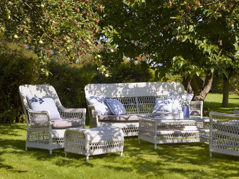 Sika-Design Dawn Kurvestol - Vintage Hvid Rattan - Georgia Garden