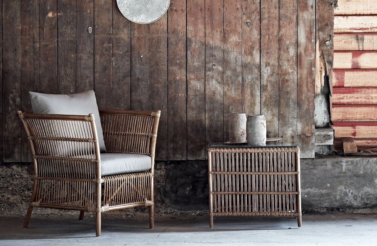 Sika-Design - Donatello Loungestol - Loungestol i rattan med taupe hynde