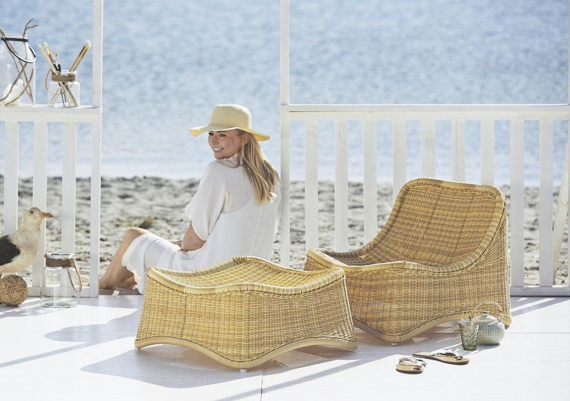 ICONS Chill Loungestol og Skammel - Natur - Naturfarvet loungestol