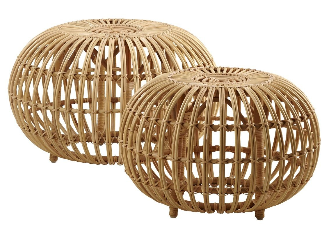 ICONS Ottoman Lille - Skin-on natural - Lille puf i rattan