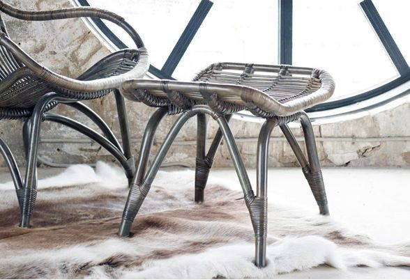 Sika-Design Monet Fodskammel - Grå Rattan - Originals by Sika