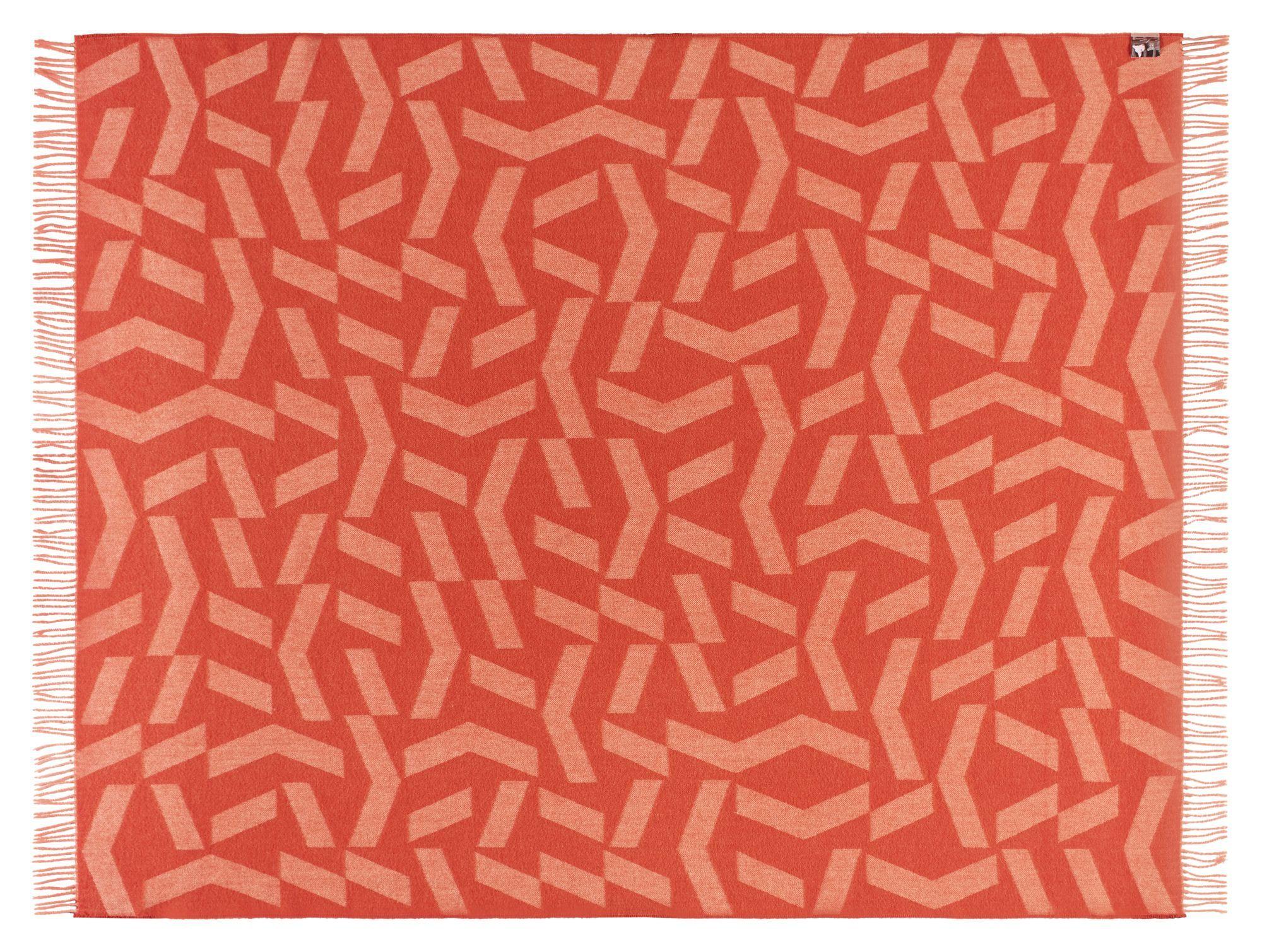 Dashes Plaid, Alpaca, Orange Rose, 130x190