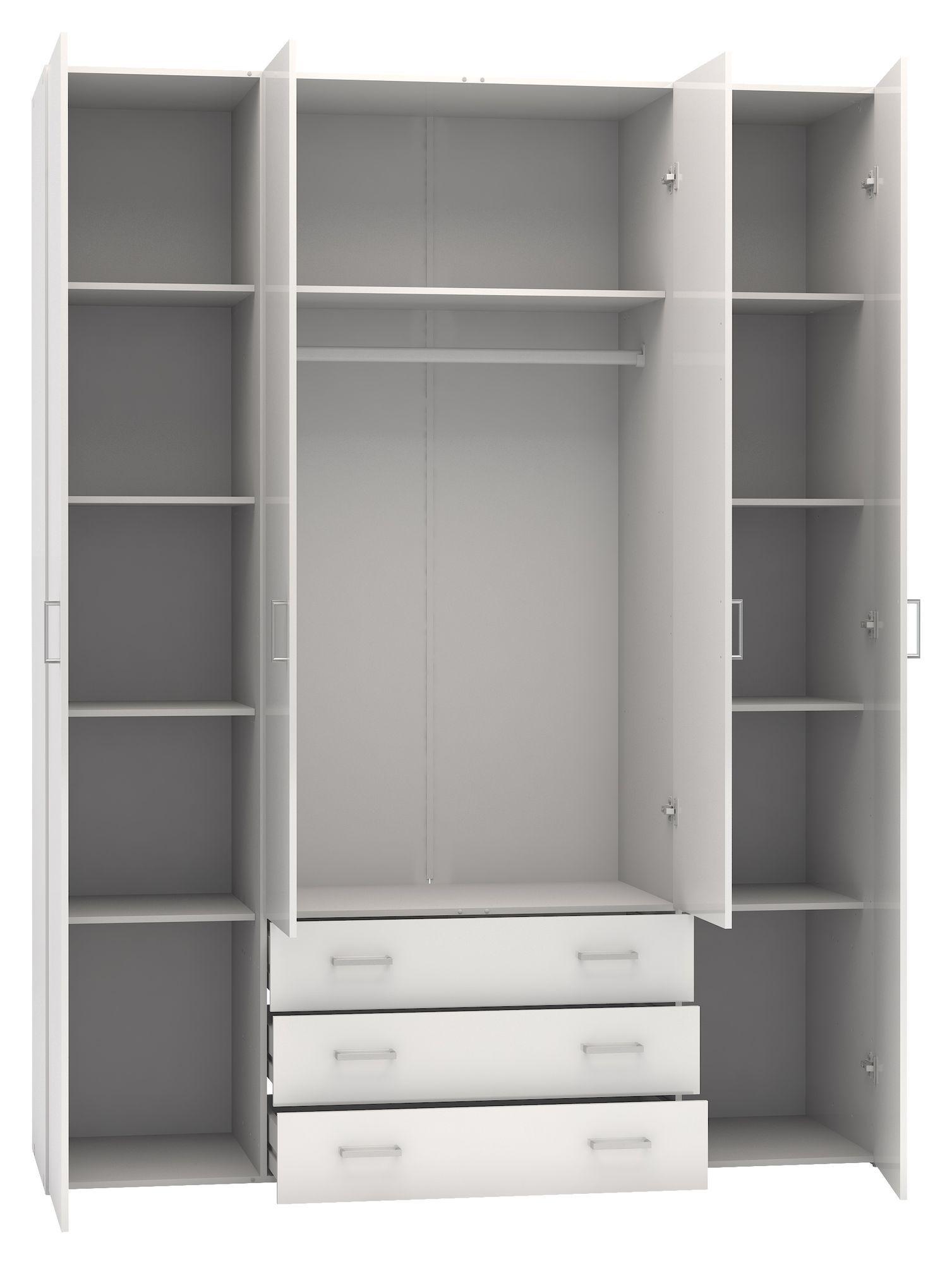Space Garderobeskab - Hvid højglans m/4 låger - Garderobeskab i hvid med 4 låger