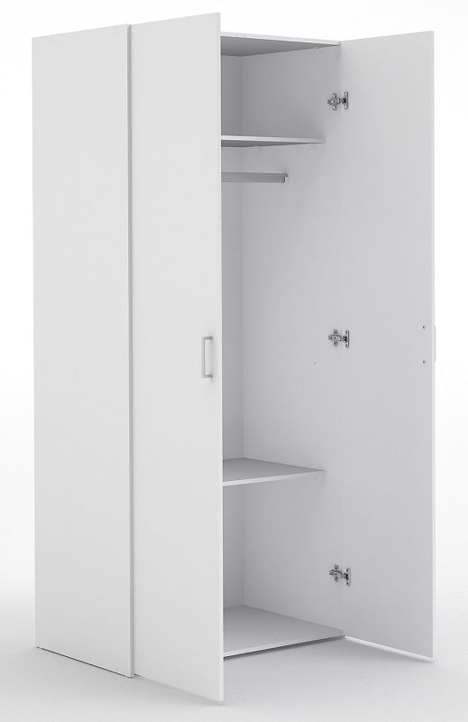 Space Garderobeskab - Hvid m/2 låger - Hvidt garderobeskab med to låger