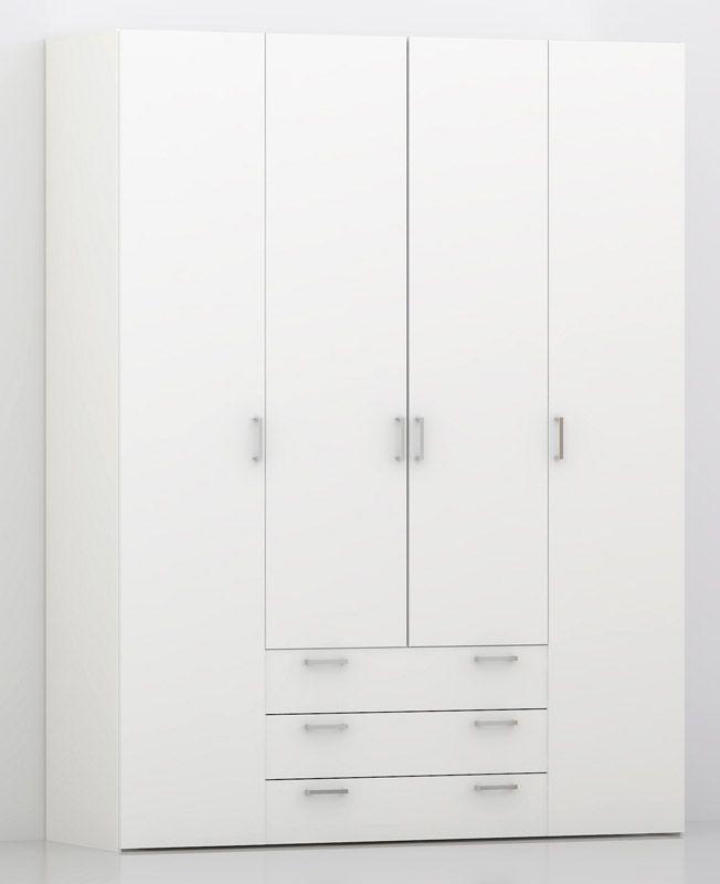 Space Garderobeskab - Hvid m/4 låger - Hvidt garderobeskab