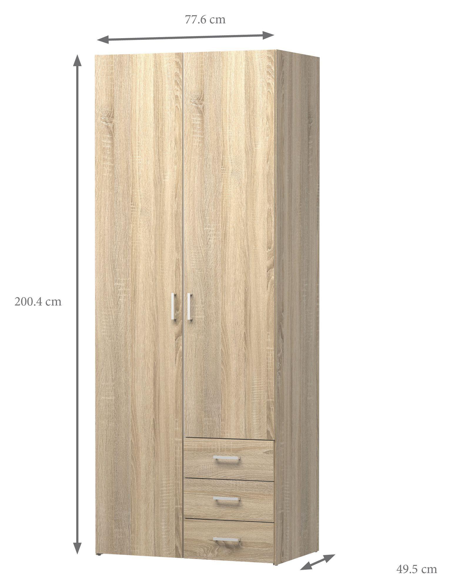 Space Garderobeskab - Lys træ - Garderobeskab i lyst træ med bøjlestang