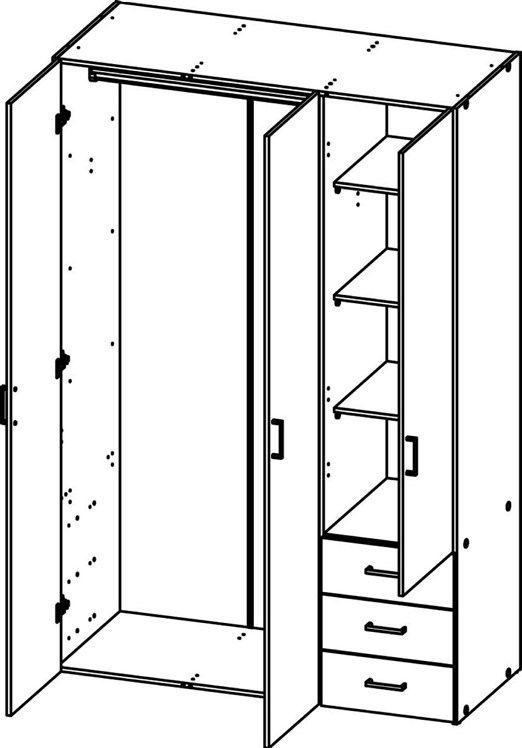 Space Garderobeskab - Lys træ/Højglans m/skuffer - Garderobeskab med 3 låger