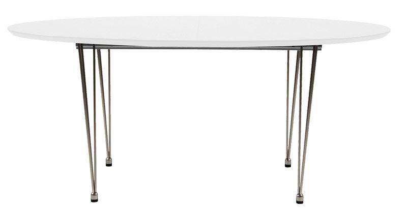 Susan Spisebord - Hvid - 170x100 m krom ben - Flot spisebord i med hvidlakeret bordplade