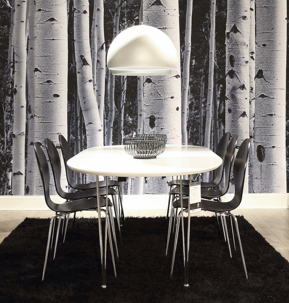 Susan Spisebord - Hvid - 170x100 m krom ben