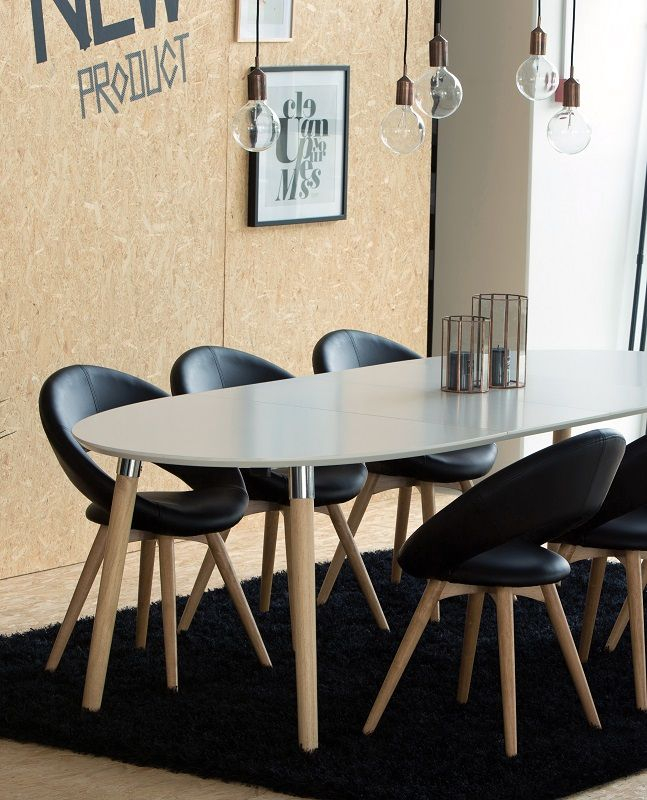 Susan Spisebord - Hvid - 170x100 m. Tillægsplader - Hvidt spisebord med oval bordplade