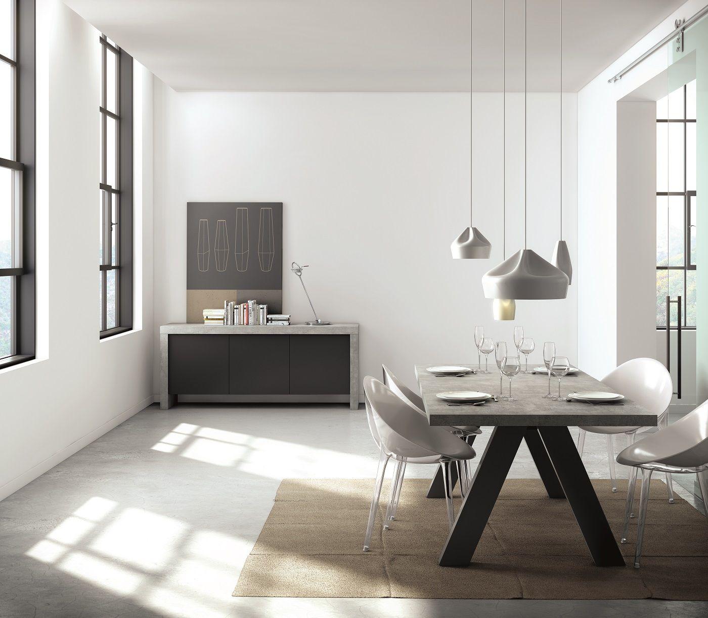 Apex Spisebord - Grå - Spisebord i gråt beton-look