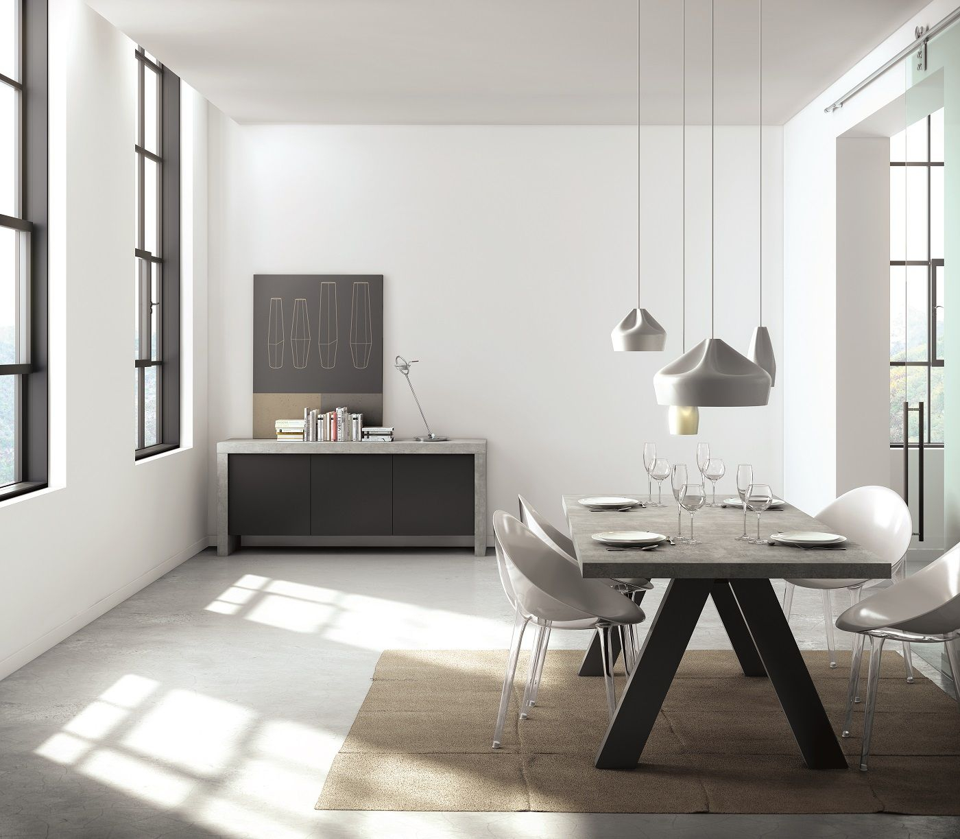 Temahome - Apex Spisebord - Grå Beton-look 200x100 - Spisebord i gråt beton-look