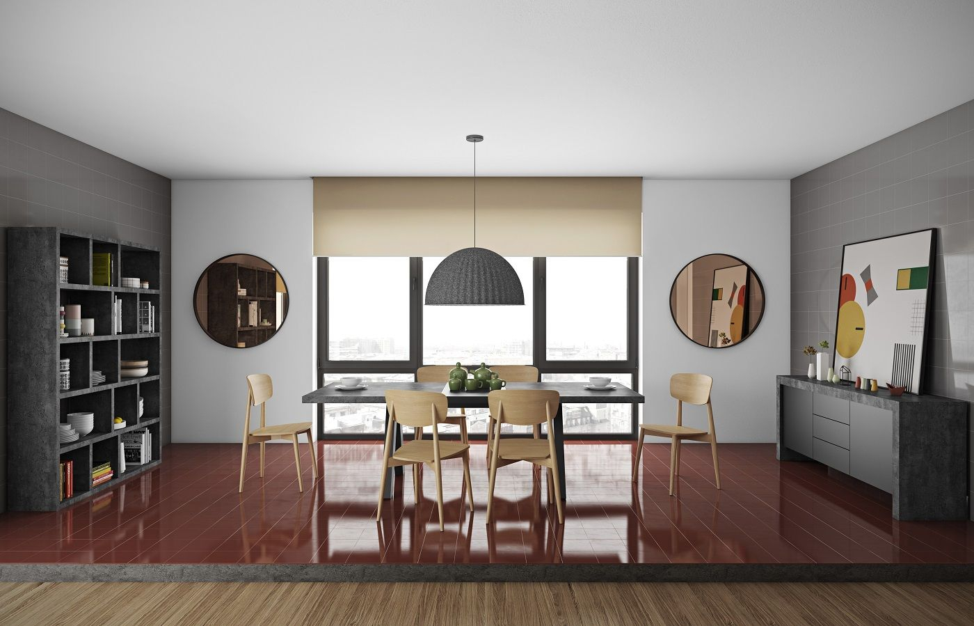 Temahome Apex Spisebord m/udtræk - Grå beton-look