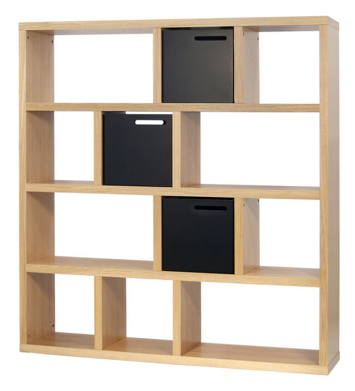 Temahome - Berlin Rumdeler 150x159 - Smart rumdeler i naturligt egetræs-look i 4 sektioner