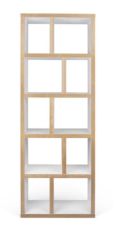 Temahome - Berlin Reol - Hvid 70x198 - Smart og funktionel høj reol med 10 rum