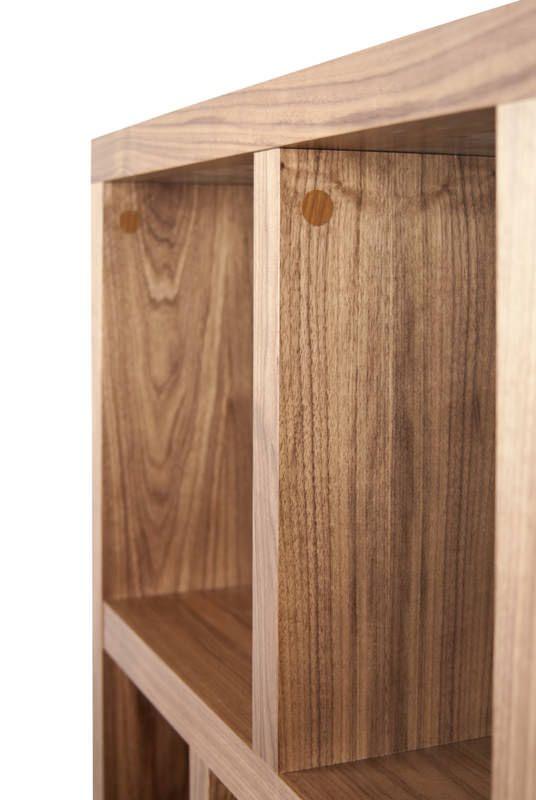 Berlin Reol - Valnød - Smart reol i træ-look i 4 sektioner
