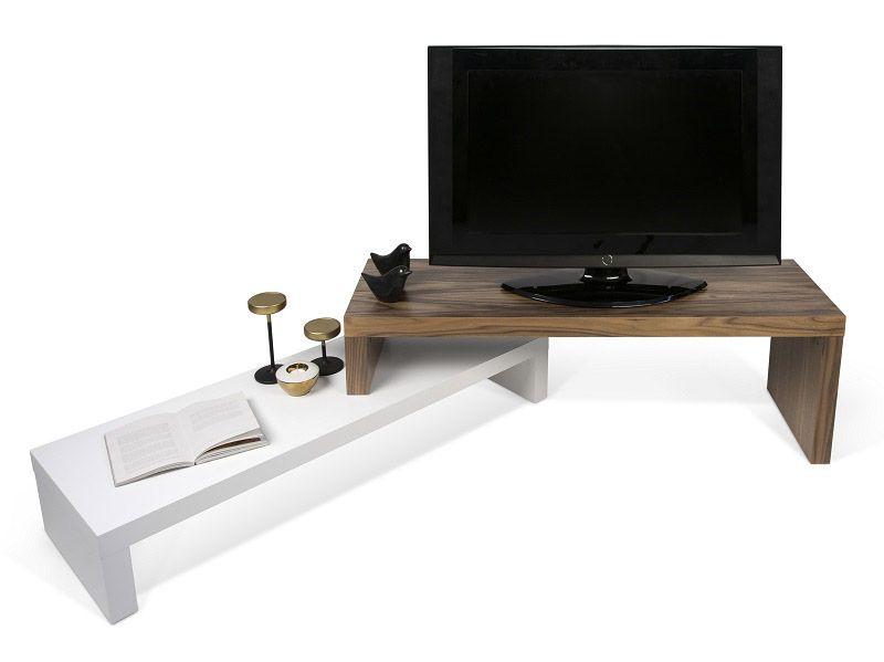Temahome Cliff TV-bord - Hvid/Valnød