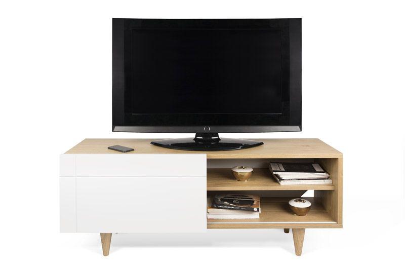 Temahome - Cruz TV-bord - Lys træ - TV-bord med hvid skydedør