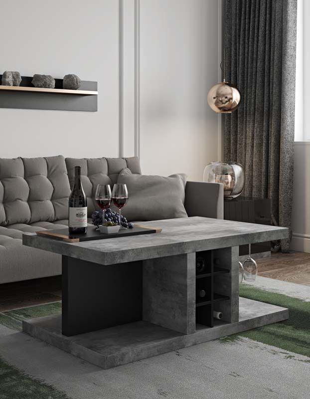 Temahome Detroit Sofabord - Grå beton-look m/opbevaring