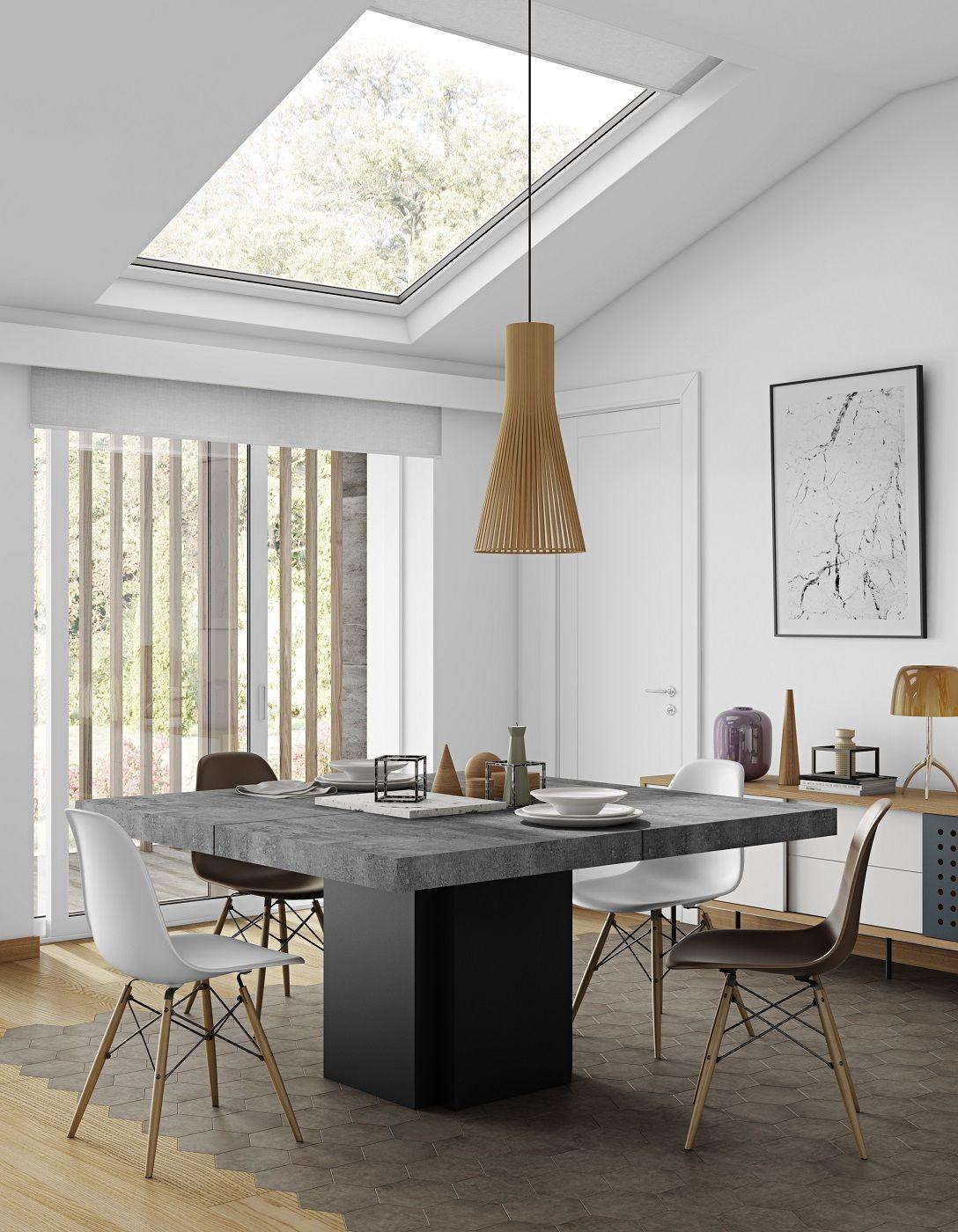 Dusk Spisebord - 130x130 cm - Stilrent spisebord i grå m. central fod