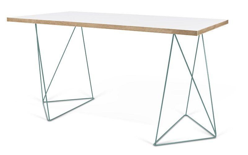 Temahome - Flow Skrivebord - Hvid m/grønt stel - Hvidt skrivebord