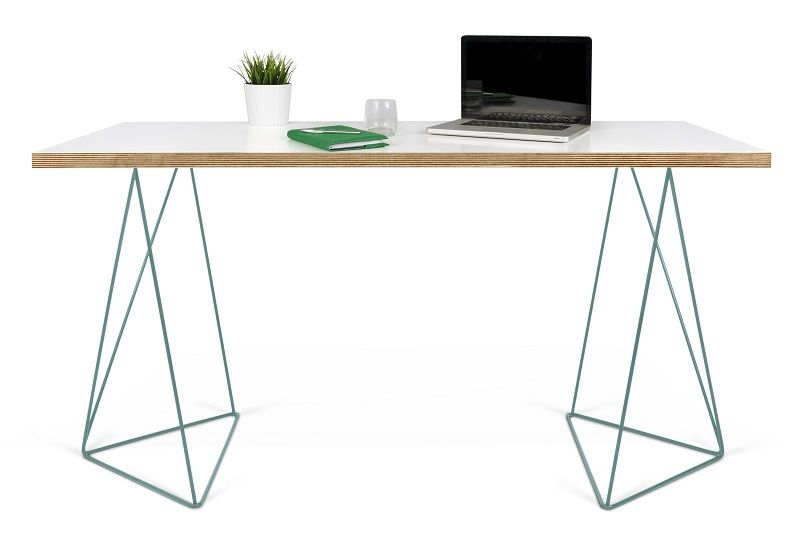 Temahome Flow Skrivebord - Hvid m/grønt stel