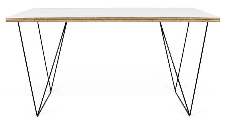 Temahome - Flow Skrivebord - Hvid m/sort stel - Hvidt skrivebord