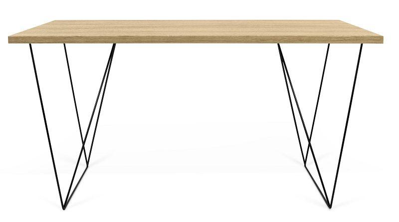 Temahome - Flow Skrivebord - Lys træ m/sort stel - Skrivebord i lyst træ