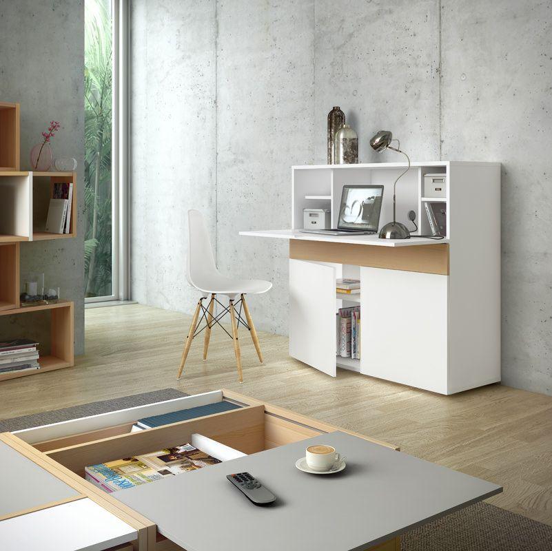 Temahome - Focus Skrivebord - Funktionelt skrivebord i hvid/egetræs-look