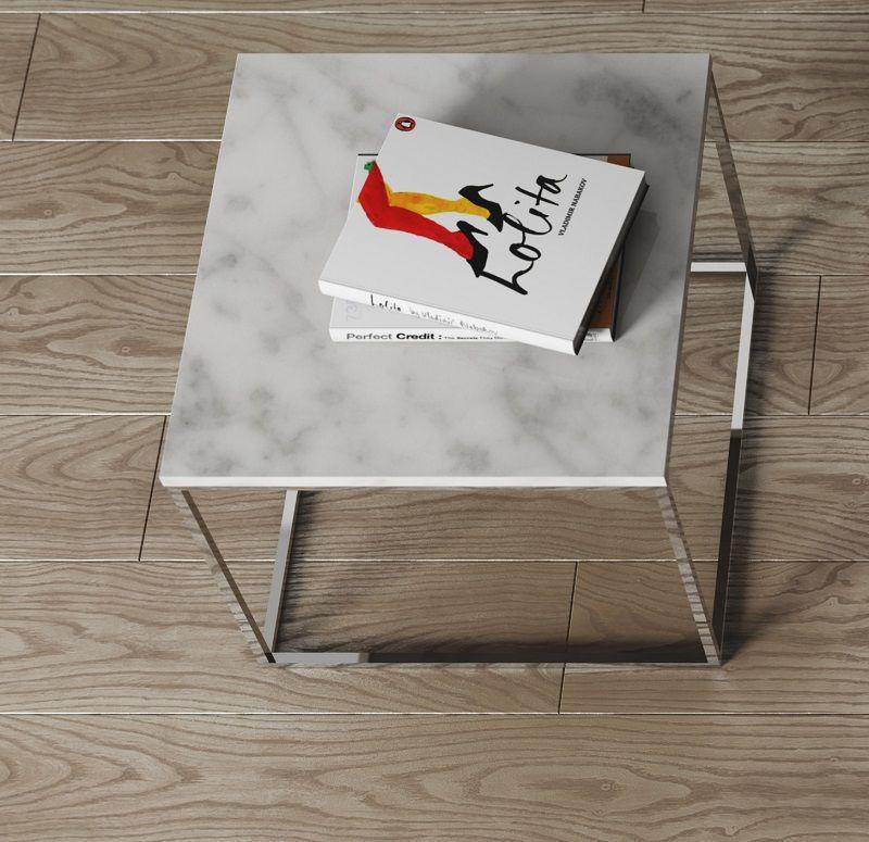 Gleam Sidebord - Hvid - 50 cm - Hvidt marmorsidebord med kromstel