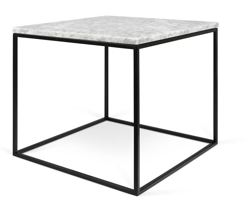 Temahome - Gleam Sidebord - Hvid m/sort stel - Hvidt marmorsidebord med stålstel