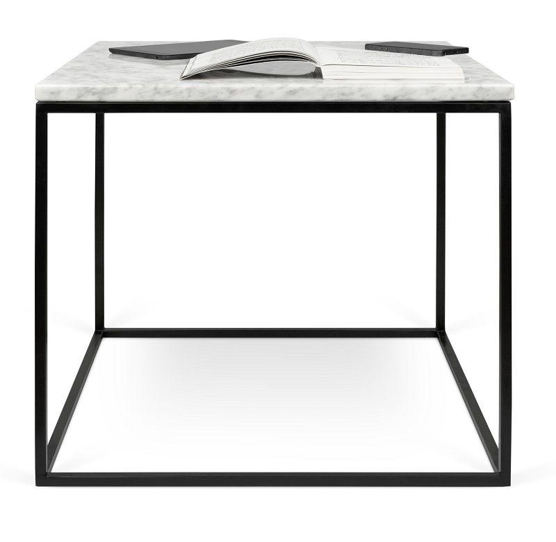 Gleam Sidebord - Hvid - 50 cm - Hvidt marmorsidebord med stålstel