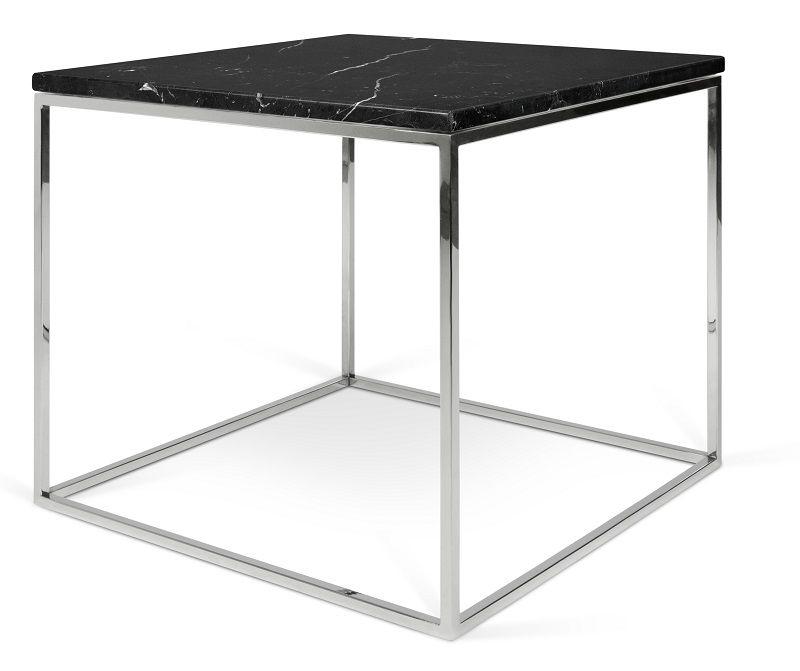 Temahome - Gleam Sidebord - Sort m/krom stel 50 cm - Sort marmorsidebord med kromstel