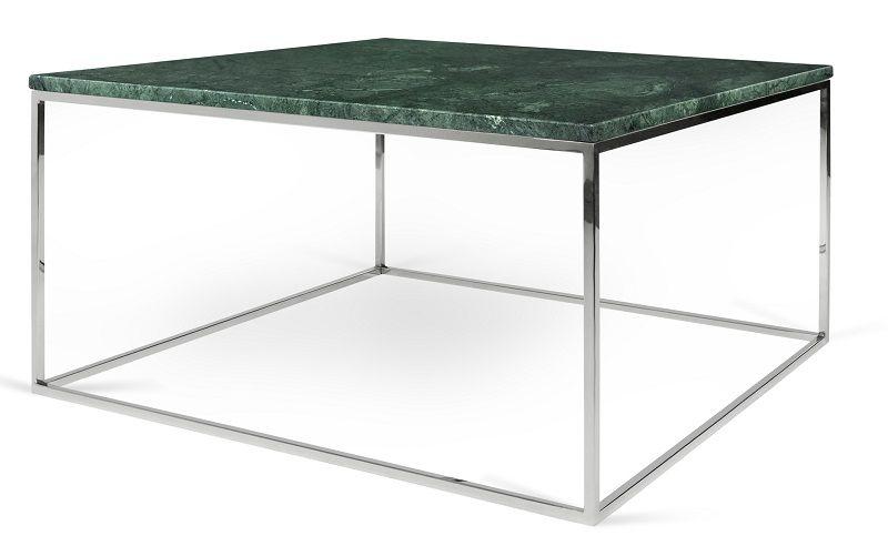 Gleam Sofabord - Grøn - 75 cm - Grønt marmorsofabord med kromstel