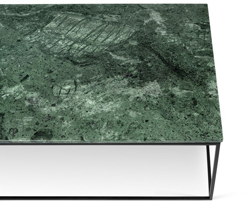 Temahome - Gleam Sofabord - Grøn m/sort stel 120 cm - Grønt marmorsofabord med stålstel