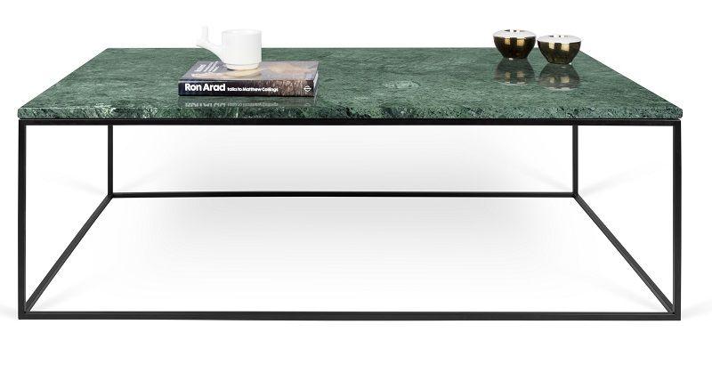 Gleam Sofabord - Grøn - 120 cm - Grønt marmorsofabord med stålstel