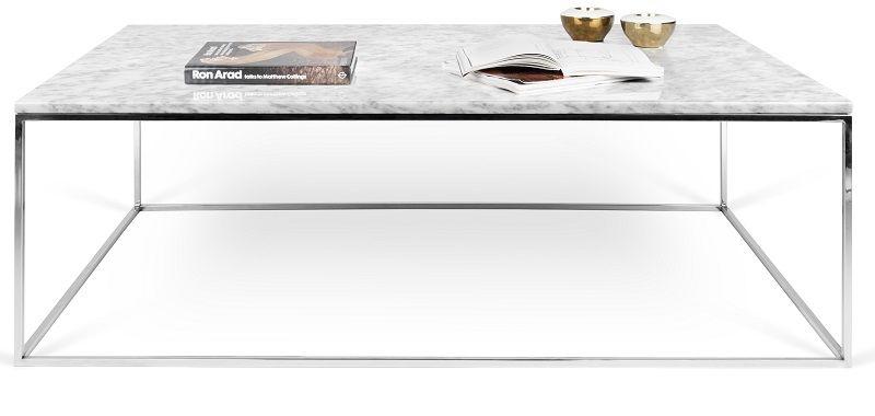 Gleam Sofabord - Hvid - 120 cm - Hvidt marmorsofabord med kromstel