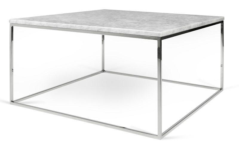 Gleam Sofabord - Hvid - 75 cm - Hvidt marmorsofabord med kromstel