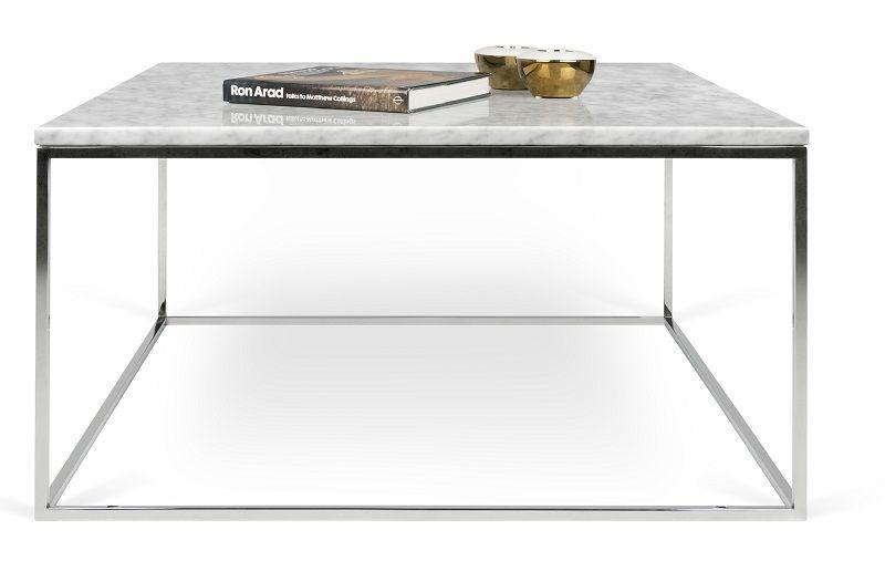 Temahome - Gleam Sofabord - Hvid m/krom stel 75 cm - Hvidt marmorsofabord med kromstel