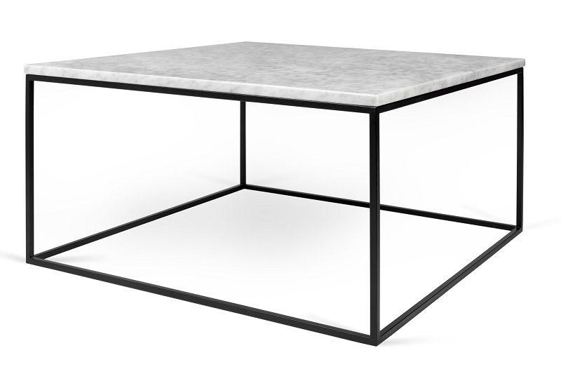 Temahome - Gleam Sofabord - Hvid m/sort stel 75 cm - Hvidt marmorsofabord med stålstel