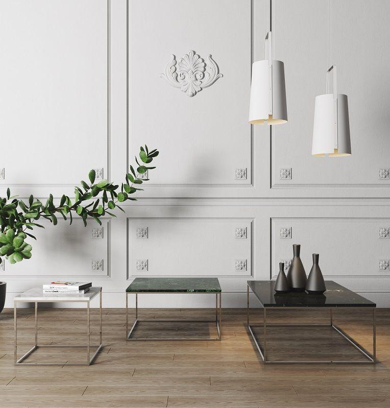 Temahome - Gleam Sofabord - Sort m/krom stel 120 cm - Sort marmorsofabord med kromstel