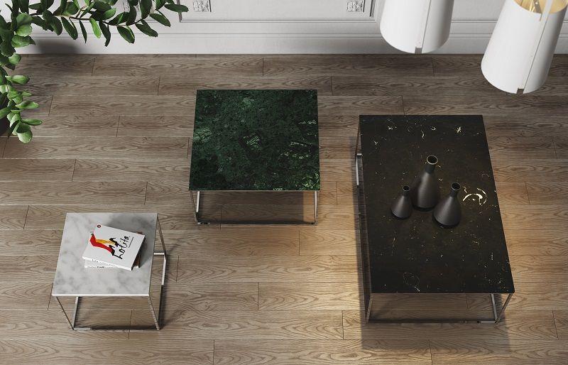 Gleam Sofabord - Sort - 120 cm - Sort marmorsofabord med kromstel