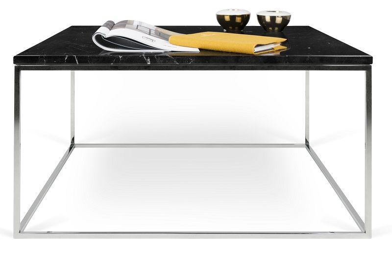 Temahome - Gleam Sofabord - Sort m/krom stel 75 cm - Sort marmorsofabord med kromstel