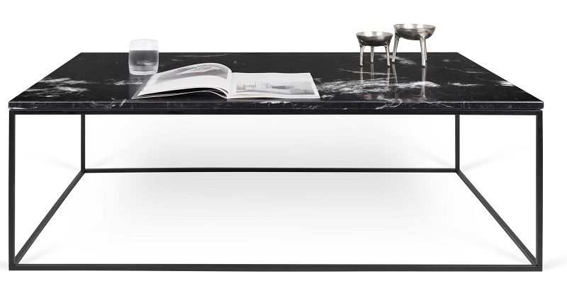 Gleam Sofabord - Sort - 120 cm - Sort marmorsofabord med stålstel