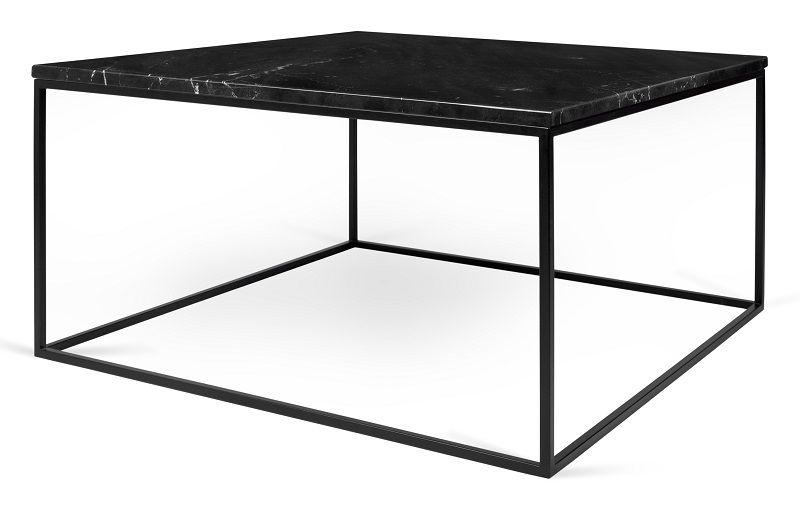 Temahome - Gleam Sofabord - Sort m/sort stel 75 cm - Sort marmorsofabord med stålstel