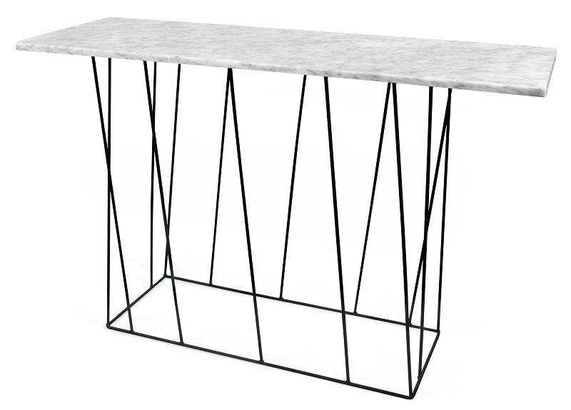 Temahome - Helix Konsolbord - Hvid marmor m/sort stel - Konsolbord i hvid marmor
