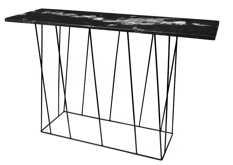Temahome - Helix Konsolbord - Sort m/sort stel - Konsolbord i sort marmor