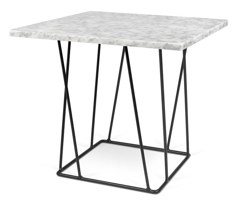 Helix Sidebord - Hvid - Hvidt marmorsidebord med sort stålstel