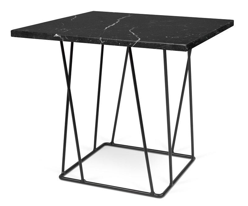 Temahome - Helix Sidebord - Sort - Sort marmosidebord med sort stålstel
