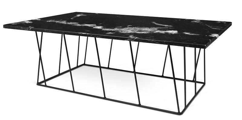 Temahome - Helix Sofabord - Sort m/sort stel - Sort marmorsofabord med sort stålstel